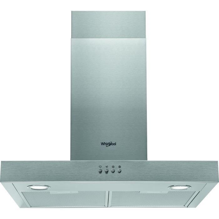 WHIRLPOOL AKR558/3IX Hotte cheminée - Evacuation ou recyclage - 432 m3 air / h max - 65 dB(A) max - 3 vitesses - L 60 cm - Inox