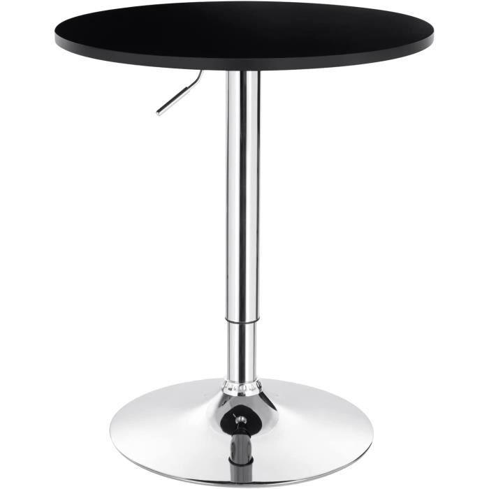WOLTU WOLTU 1 X Table de bar en MDF avec pied, Table ronde, Hauteur réglable,Noir