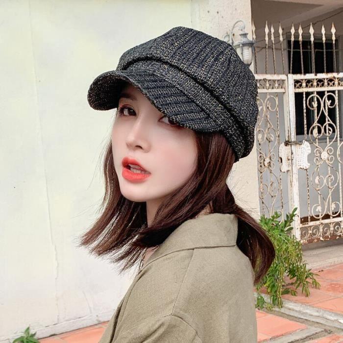 Black -Chapeaux de paille de couleur unie pour femmes, bérets de peintre de Style campagnard, casquette de soleil à visière, Bonnet,