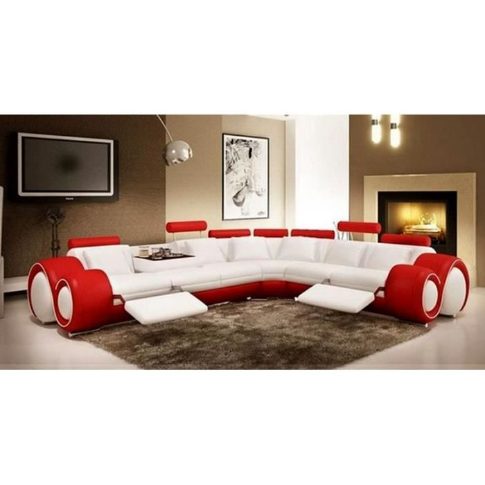 canap d 39 angle design en cuir blanc et rouge relax achat vente canap sofa divan cdiscount. Black Bedroom Furniture Sets. Home Design Ideas