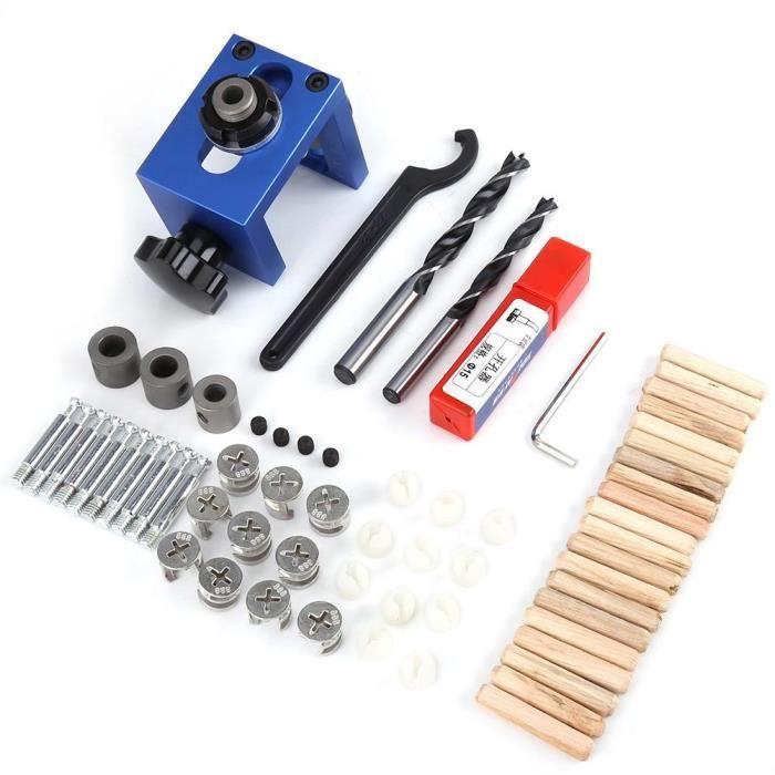 Kit de gabarit de guide de per/çage de trou de goujon en bois Outil de positionnement de menuiserie ajustable avec coupe-trou pour diff/érentes /épaisseurs