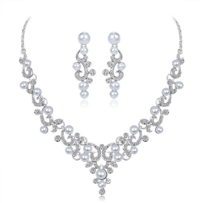 9 Paire 1 Set Mixte Boucle d/'Oreille Clous Perle Strass Blanc Doré Bijoux Mode