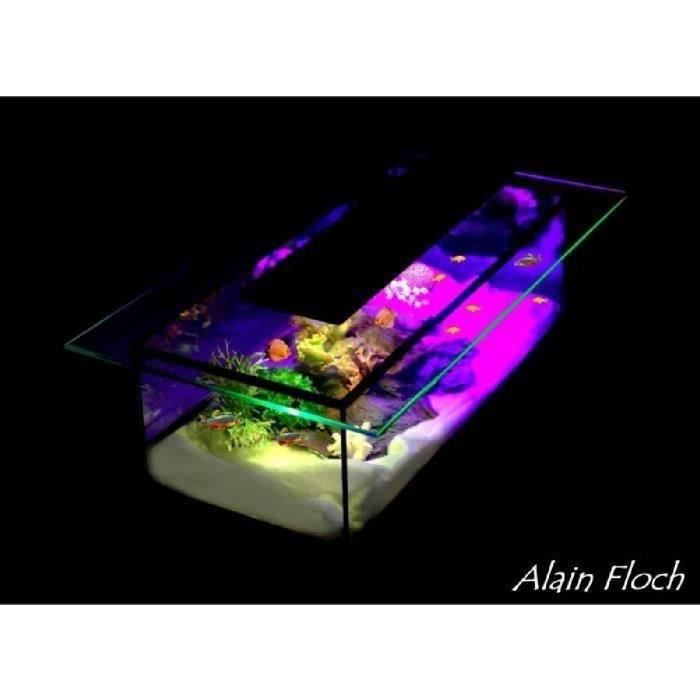 TABLE BASSE AQUARIUM / VITRINE DIAMANT 20 LED SANS FIL DESIGN UNIQUE ...