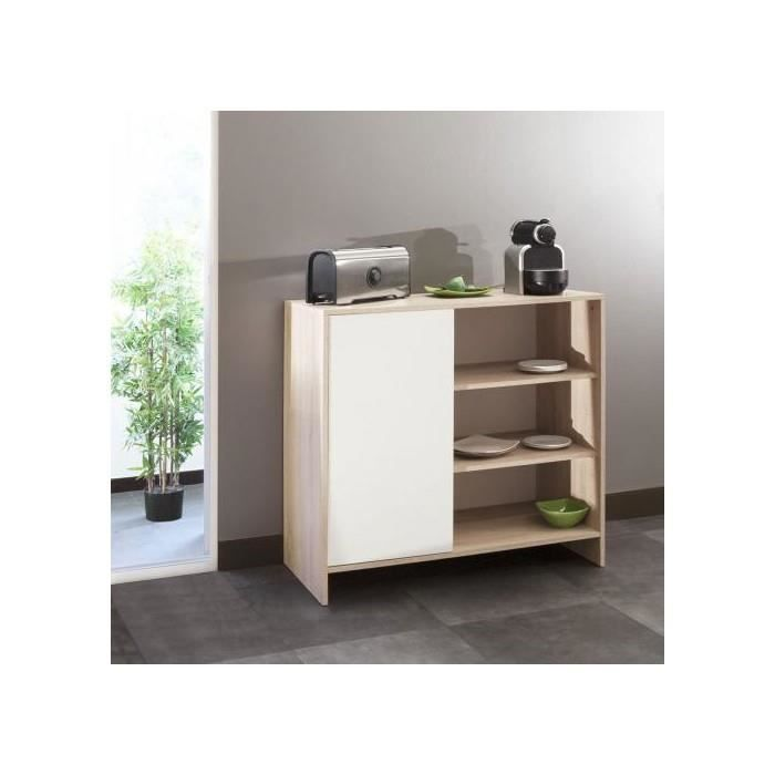 Meuble bas de cuisine 1 porte 3 niches 95 cm blanc chene for Meuble cuisine 15 cm