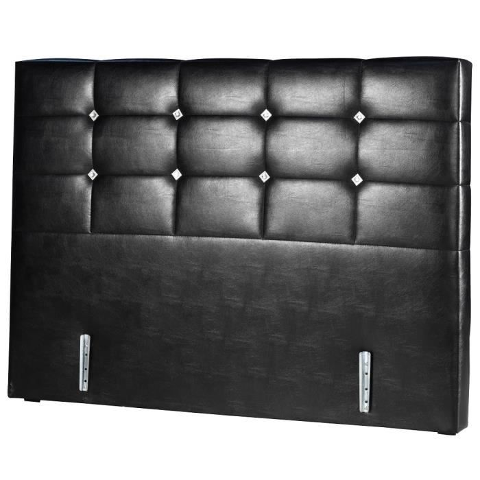 t te de lit cuir noir nova 140 190 2 places achat. Black Bedroom Furniture Sets. Home Design Ideas