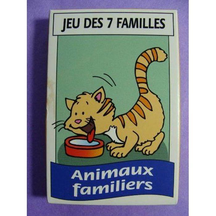 """CARTES DE JEU Jeu de 7 familles """"Animaux familiers"""" (42 cartes)"""