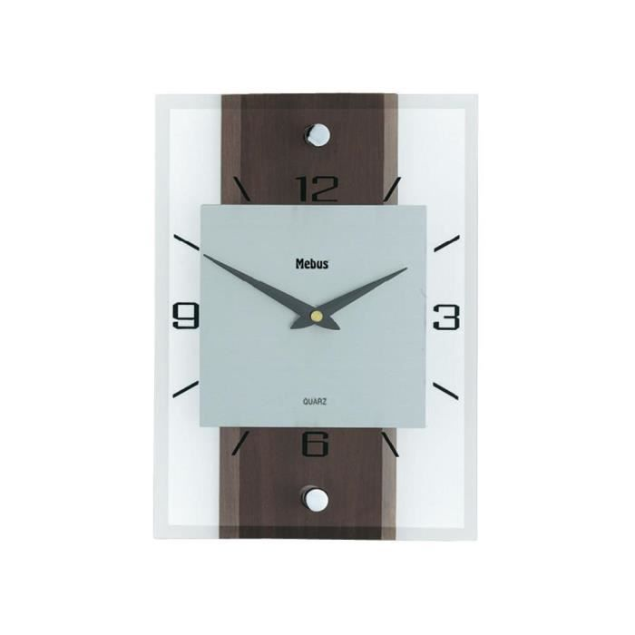 horloge murale mebus quartz en noyer verre alum achat vente horloge pendule aluminium. Black Bedroom Furniture Sets. Home Design Ideas