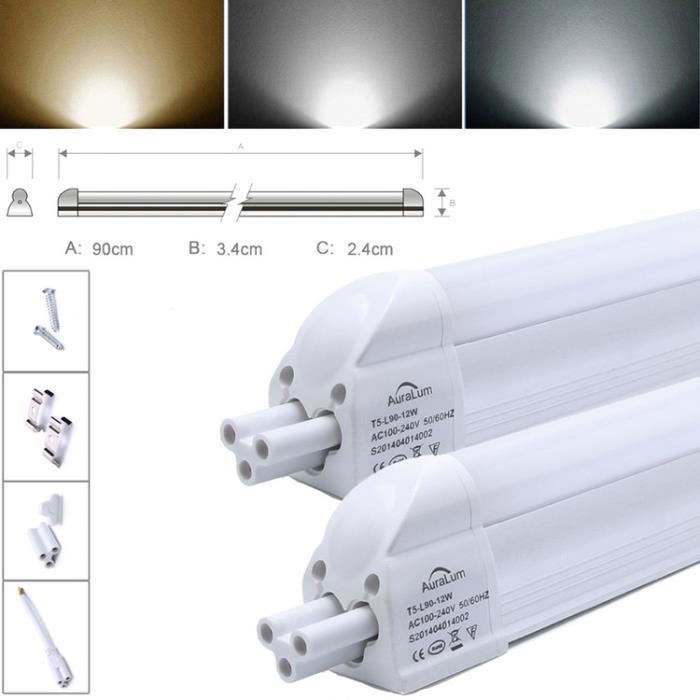 2x auralum t5 tubes r glette led 90cm 12w fluo lumi re for Eclairage neon interieur