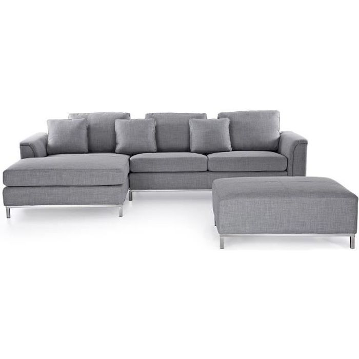 canap d 39 angle d canap avec pouf en tissu gris clair sofa oslo achat vente canap. Black Bedroom Furniture Sets. Home Design Ideas