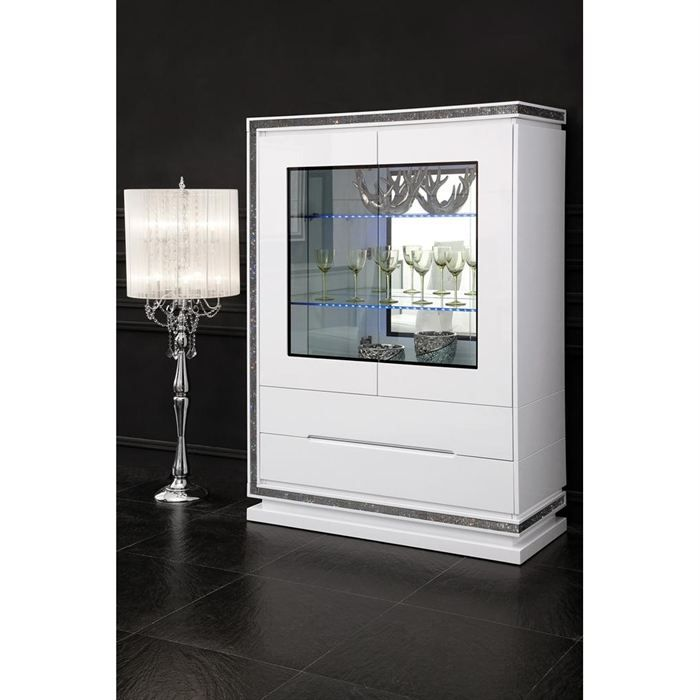 vitrine design laquee blanche h brillance 2 portes achat. Black Bedroom Furniture Sets. Home Design Ideas