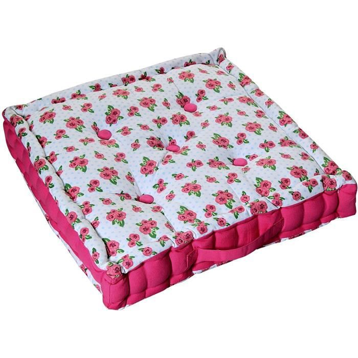 coussin de sol roses et pois 50 x 50 cm achat. Black Bedroom Furniture Sets. Home Design Ideas