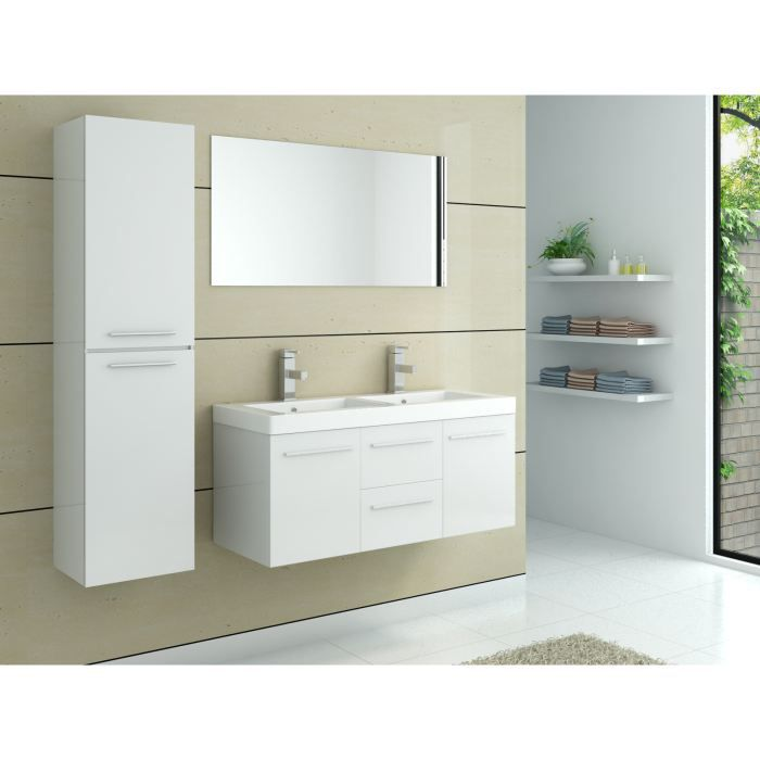 meuble salle de bain avec double vasques blanc achat. Black Bedroom Furniture Sets. Home Design Ideas