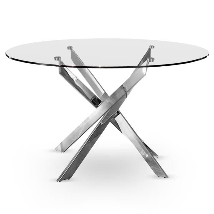 table croisade chrome achat vente table a manger seule table croisade chrome verre cdiscount. Black Bedroom Furniture Sets. Home Design Ideas