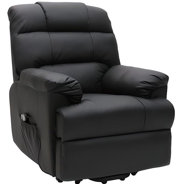 fauteuil relax lectrique releveur noir phoebe achat vente fauteuil polyur thane. Black Bedroom Furniture Sets. Home Design Ideas