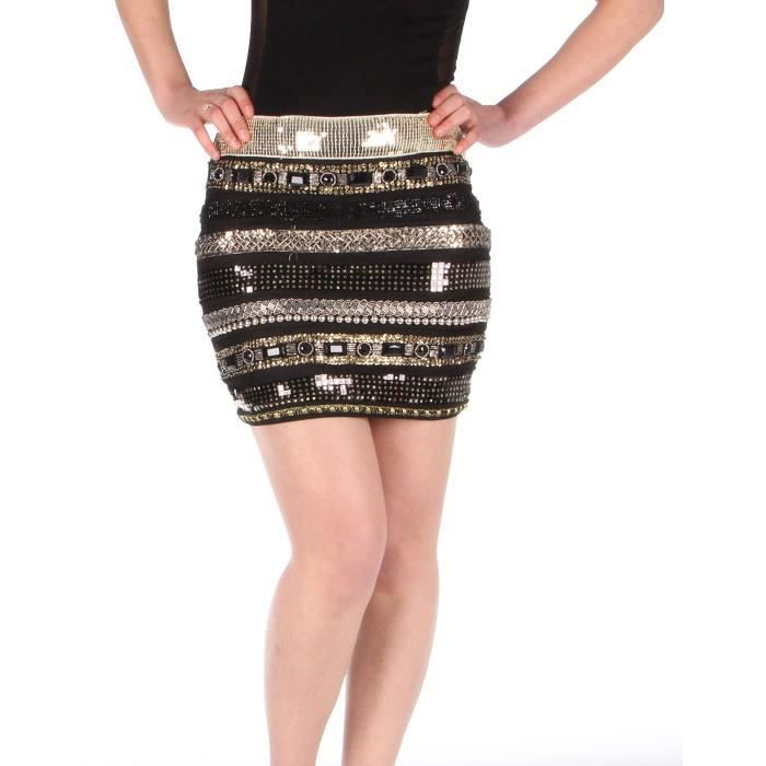 Jupe Courte Strass Perles Achat Vente Jupe Cdiscount