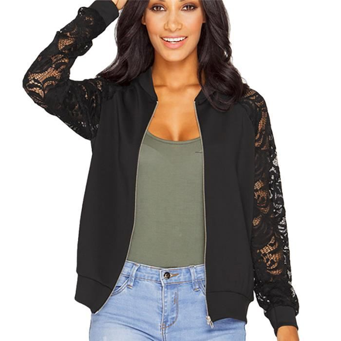 veste manteau femme bomber blazer blouson jacket courte coton manche longue dentelle zipp pour. Black Bedroom Furniture Sets. Home Design Ideas
