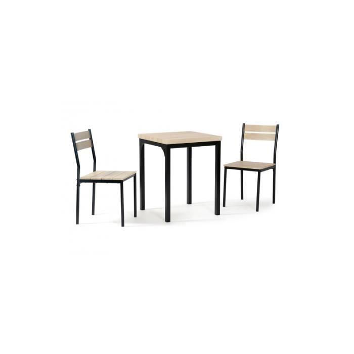 TABLE À MANGER COMPLÈTE Ensemble Table repas et 2 Chaises Chêne griffé et