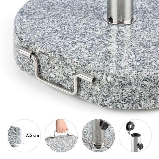Blumfeldt Schirmherr 25HSQ Pied de parasol 25 kg Balcon rectangle granit gris