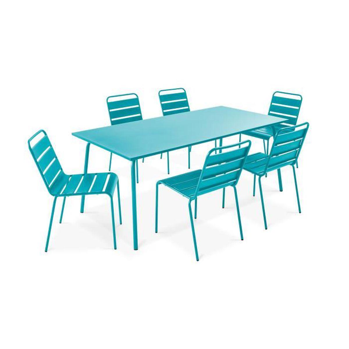 Table de jardin et 6 chaises en métal Bleu