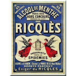 TABLEAU - TOILE PLAQUE 40X30cm PUB RETRO ALCOOL DE MENTHE RICQLES