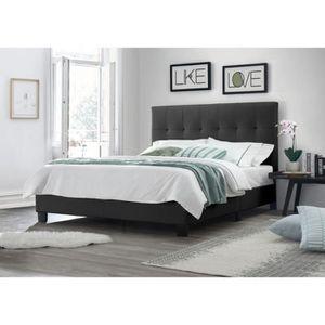 STRUCTURE DE LIT Lit double NOIR 160x200 - tête de lit, pieds et so