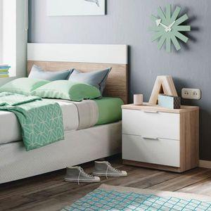 CHEVET Tête de lit 100 cm + chevet Blanc/Chêne clair - HO
