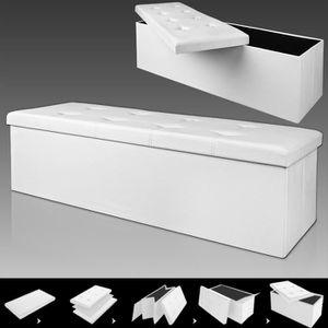 BANC Banc pliable avec rangement - Blanc - 114 x 40 x 4