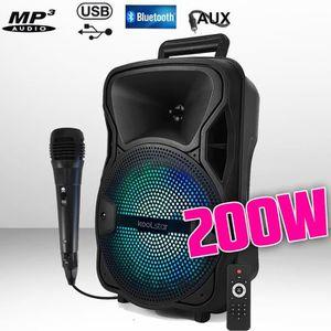 ENCEINTE ET RETOUR Enceinte à LED SONO DJ Karaoke autonome Mobile sur