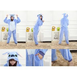 PYJAMA Pyjama Combinaison en Flanelle de Femme Monstre Bl