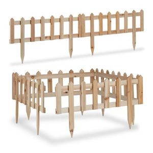 BORDURE Relaxdays Bordure de jardin en bois en set clôture