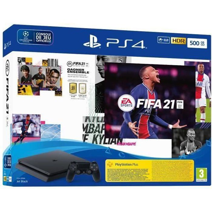 Pack PS4 500 Go+FIFA 21+Vch FUT+Vch PS+ 14 jr