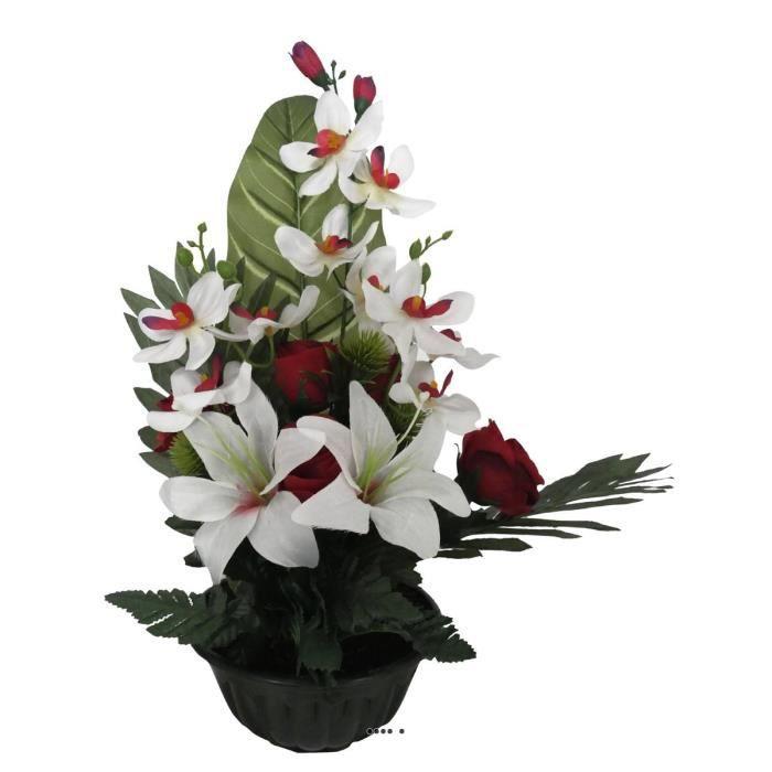 Composition vasque de roses, lys et orchidées artificielles, lestée, H 45 cm, D 29 cm, Rouge-blanc