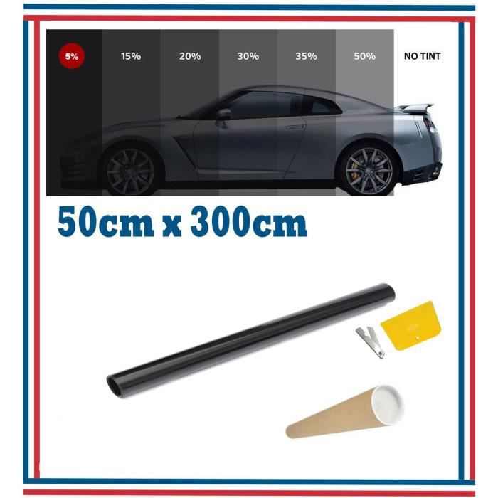 Film Teinté Pellicule Vitres Auto 5% Super Noir 3m X 50cm