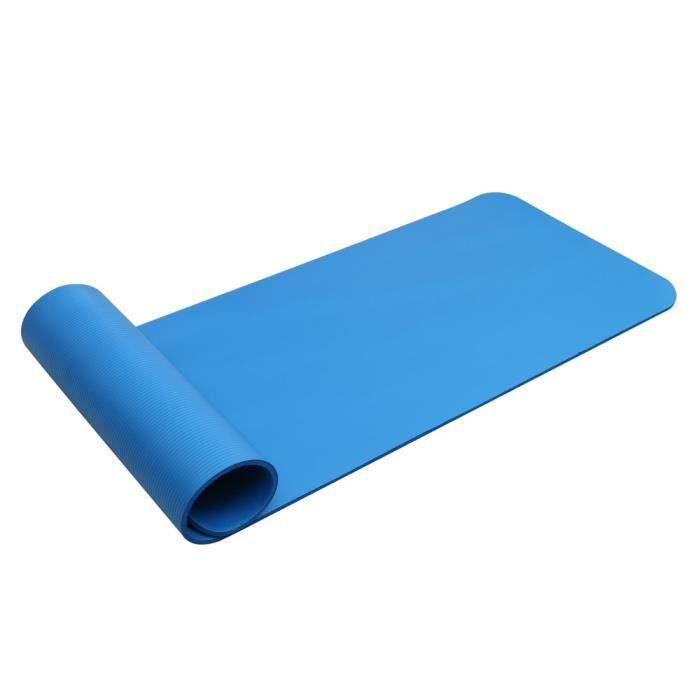 Tapis de Yoga pliable-Tapis de sport-Pour la maison-183x61x1cm-Antidérapant-Avec une Sangle de transport-Bleu