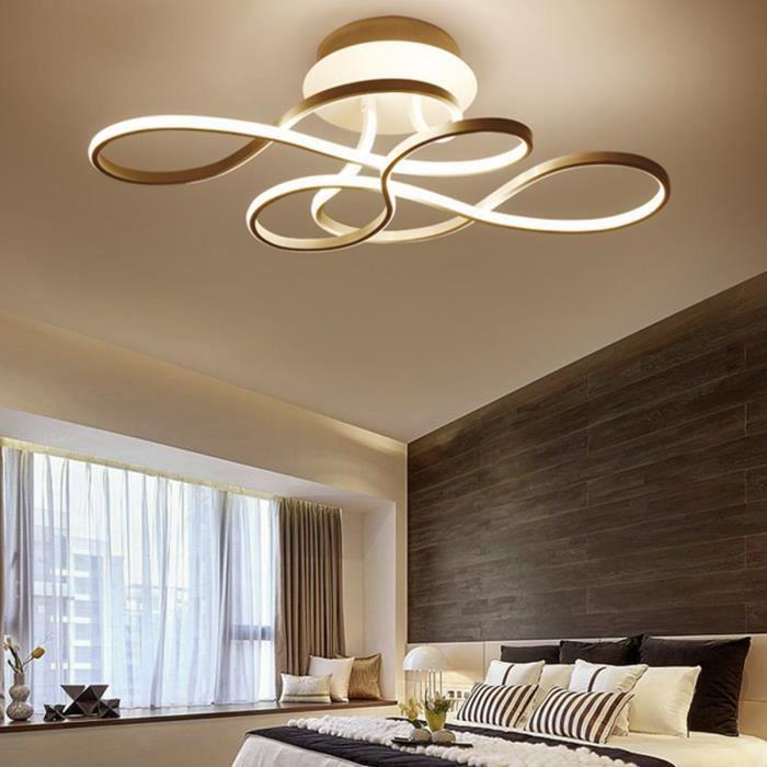 LED Plafonnier Dimmable Moderne Spirale Creative incurvée avec Télécommande pour Salon Chambre Salle à manger Bureau Blanc 82W