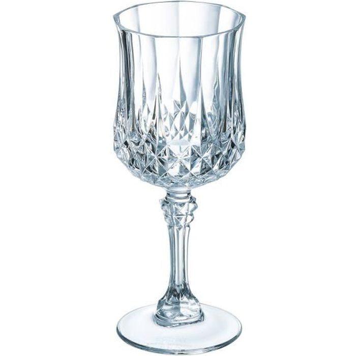 6 verres à vin vintage 25cl Longchamp - Eclat - Verre ultra transparent au design vintage
