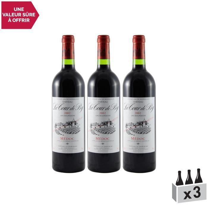 Château La Tour de By Médoc Cru Bourgeois Rouge 2002 - Lot de 3x75cl - Vin AOC Rouge de Bordeaux - Cépages Cabernet Sauvignon,