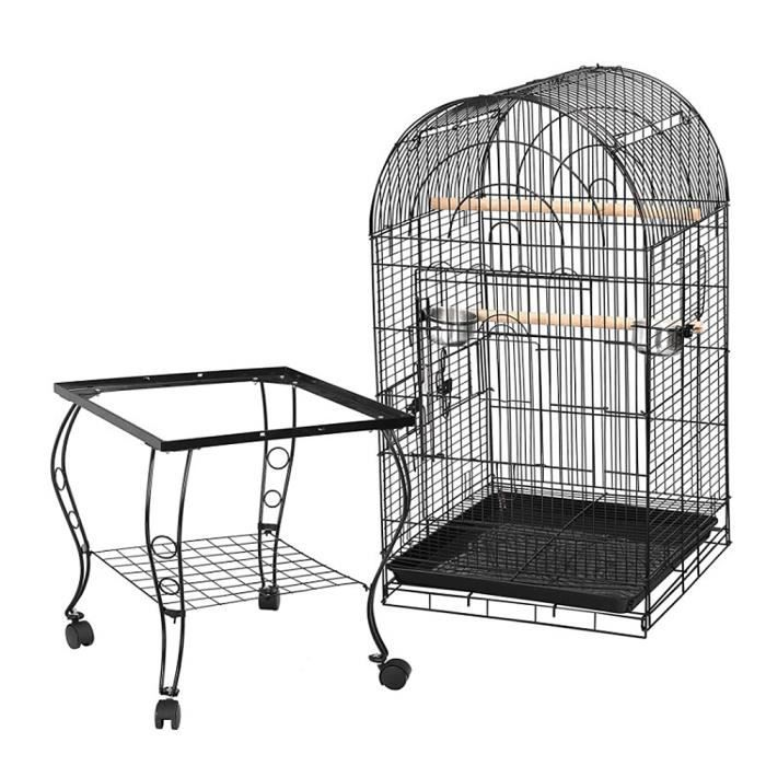 Cage Oiseaux 59 x 59 x 150 cm Volière Portable Détachable sur roulettes avec Toit Ouvert en Métal