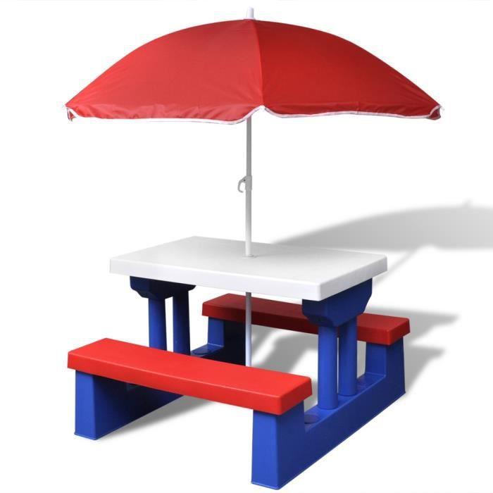 Table de pique nique pour enfants avec parasol inclus