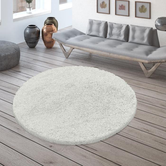 MOELLEUX - Tapis cosy Rond à poils longs - Blanc 160 x 160cm