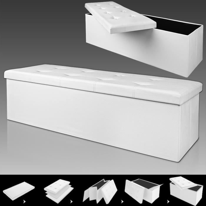 Banc pliable avec rangement - Blanc - 114 x 40 x 40 cm