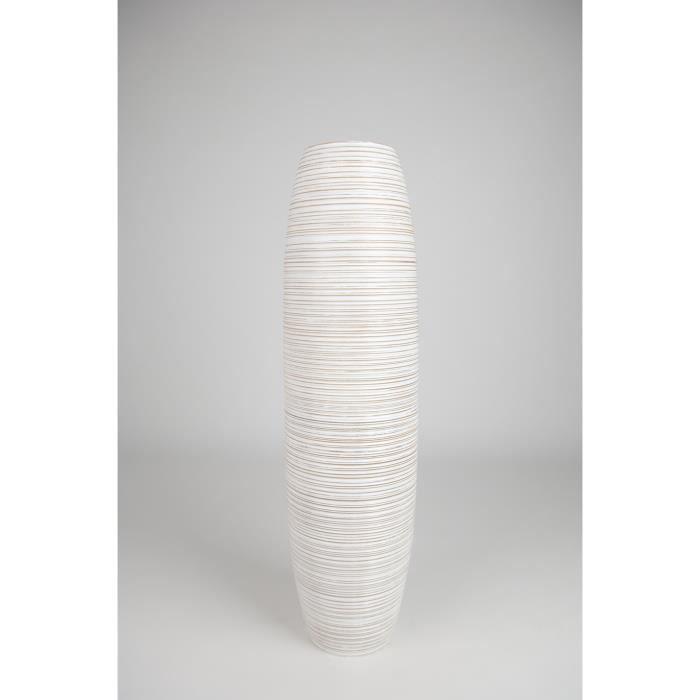 Grand Vase Décoratif 90 cm, Bois du manguier, Blanc