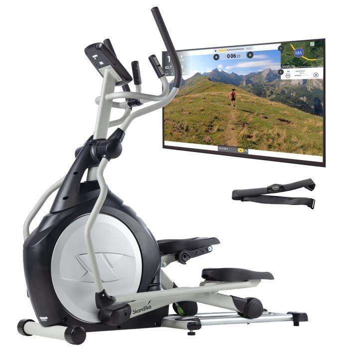 Skandika CardioCross Carbon Pro - Vélo elliptique - Masse d'inertie: 23,5 kg - Poids Max. 145kg - 19 Programmes - Sangle Cardio