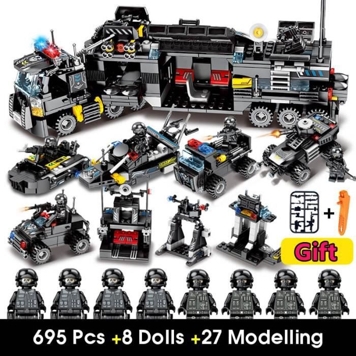 695 pièces Police SWAT blocs de construction compatibles blocs ville briques techniques Playmobil jouets et loisirs jouets enfants