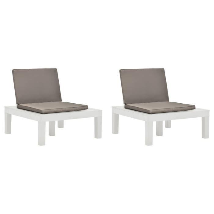 MAISON- 2 pcs Chaises de jardin et coussins Plastique Blanc - Chaise d'extérieur ,Chaise de terrasse ,Fauteuil de balcon9580