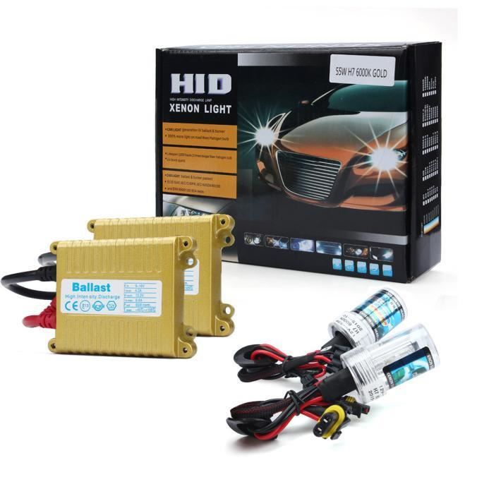Ampoule Xénon HID 12V 55W Slim H7 12000K + Kit de Conversion de Ballast N572