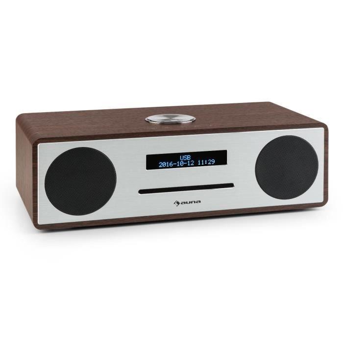 auna Stanford - Radio numérique Bluetooth avec lecteur CD et tuner DAB+-FM (entrée AUX, sortie casque, réveil) - bois marron