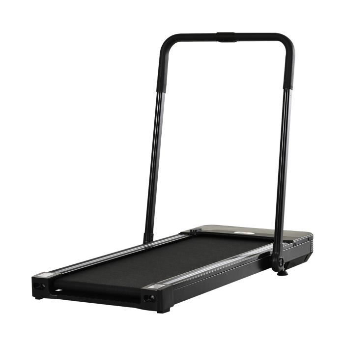 Tapis de course Fitness électrique pliable - 1 à 10 Km/h - écran LED multifonctions - puissance 600 W - acier noir 148x68x107cm Noir