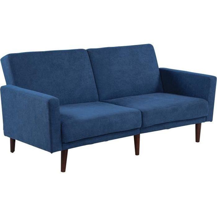 Canapé convertible 2 places dossier inclinable 3 positions pieds bois eucalyptus velours 100 % polyester bleu 180x83x82cm Bleu