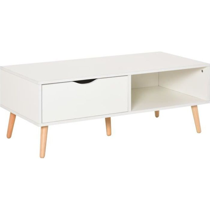 Table basse rectangulaire design scandinave grande niche et tiroir coulissant bois massif pin panneaux particules blanc